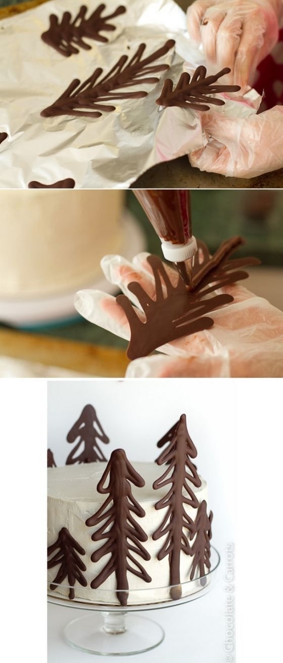diy brown and white pine tree cake-- so cute, and 'twould be easy enough.