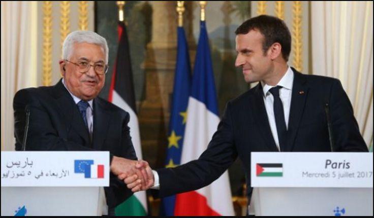 """El Presidente Emmanuel Macron, que recibió este miércoles al presidente de la Autoridad Palestina Mahmoud Abbas, reafirmó el apoyo de Francia para una solución de dos estados. """"Esta paz tiene…"""