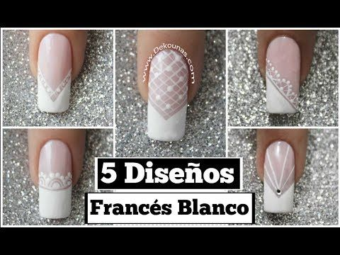 DECORACION de UÑAS FRANCÉS con FLORES - FRENCH NAIL ART - FLOWERS NAIL ART - NLC - YouTube