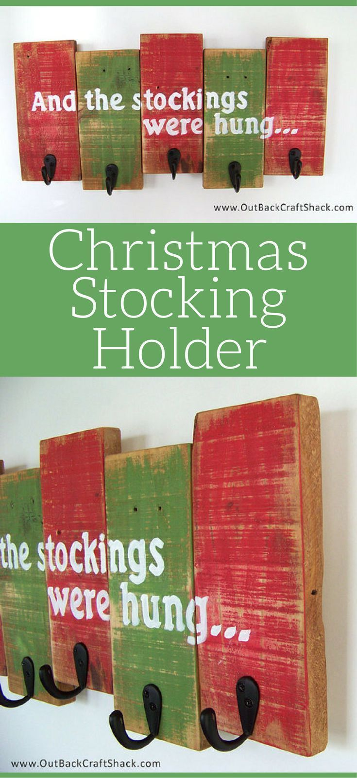 I LOVE THIS Christmas stocking holder!! Perfect amount of rusticChristmas charm... but also super functional for those that don't have a mantle to hang Christmas stockings! Rustic Christmas Decor, Stocking Hanger, Christmas Decorations, Holiday Decor #ad