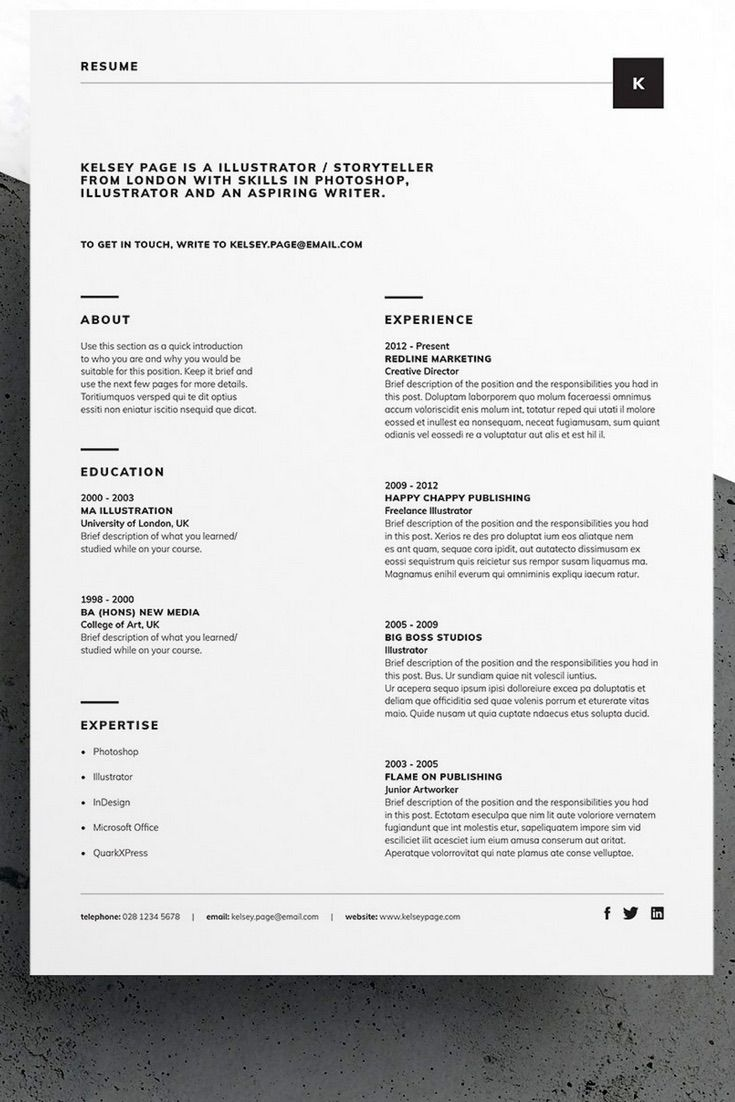 Professional, minimal Resume/CV and Cover Letter template #resume #template #design