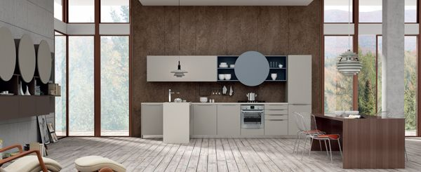 Valencia. Open Collection. Colour touches for creative geometry. Design by R&D Center. #kitchen #design #openspace