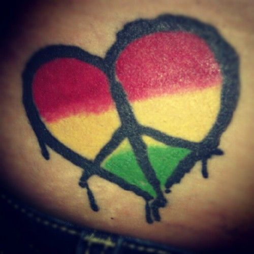 One Love Rasta Tattoo | pin heart peace rasta tattoo picture to pinterest
