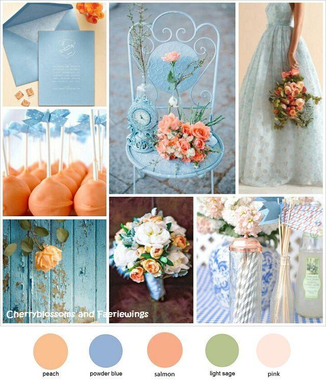 Wedding Color Palette: Color Series #2 - Peach + Powder Blue by CBFWblog
