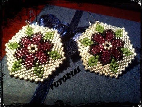 "Tutorial DIY: Orecchini peyote fiori "" Velvet passion"" earrings Xmas theme"