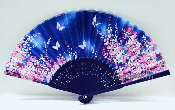 Silk Japanese Hand Fan Light Blue Folding Fan Yukata Accessory Wedding 54   eBay