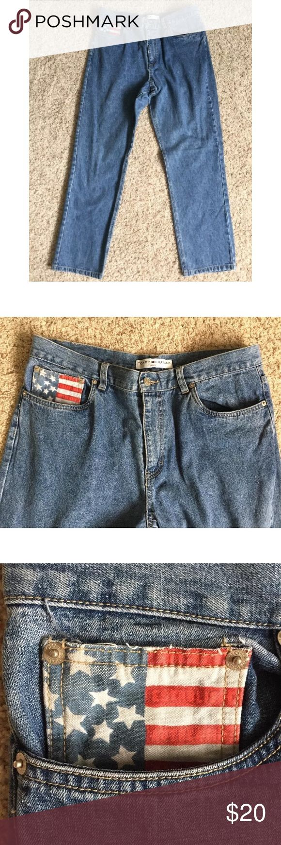 """Tommy Hilfiger high waist mom jeans flag pocket 14 High waist straight leg women's jeans from Tommy Hilfiger. American flag design on front pocket. Love these as is or would make a great pair of cutoff shorts! Size 14, measurements below. 100% cotton. Light wear to bottom hems but no fraying. Please see pictures. No stains, holes, or other major flaws.  Measurements taken across front Waist: 17"""" Rise: 12"""" Inseam: 30.5"""" Tommy Hilfiger Jeans Straight Leg"""
