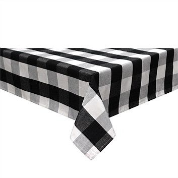 Tableware & Napery - Briscoes - Essential Collection Classic Check Tablecloth Black 130x180c
