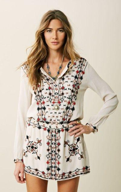 antik batik | button front garland tunic