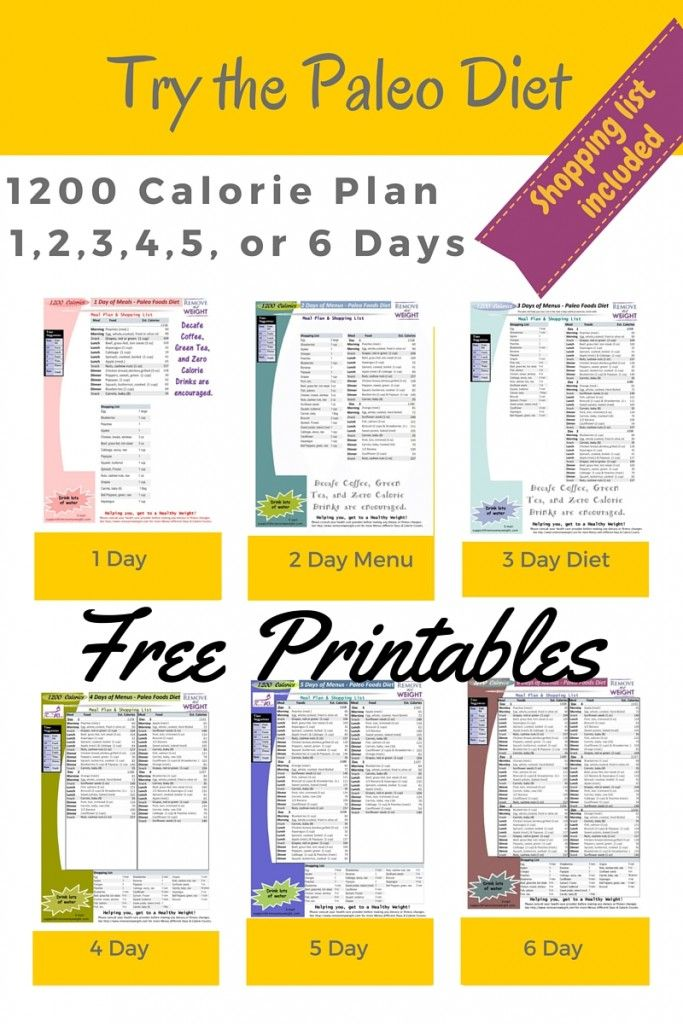 Printable 1200 Calorie Paleo Diet for 6 Days or less, grocery list included - Menu Plan for Weight Loss