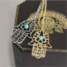vintage Fashion Jewellery Gold Plated Chain Fatima Hamsa Hand Pendants Necklace Luck Hand Turquoise Palm Nice Necklace Collares(China (Mainland))