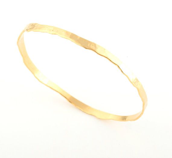 Hammered Gold Bangle Solid GOLD Bangles 14K GOLD by LIRANSHANI