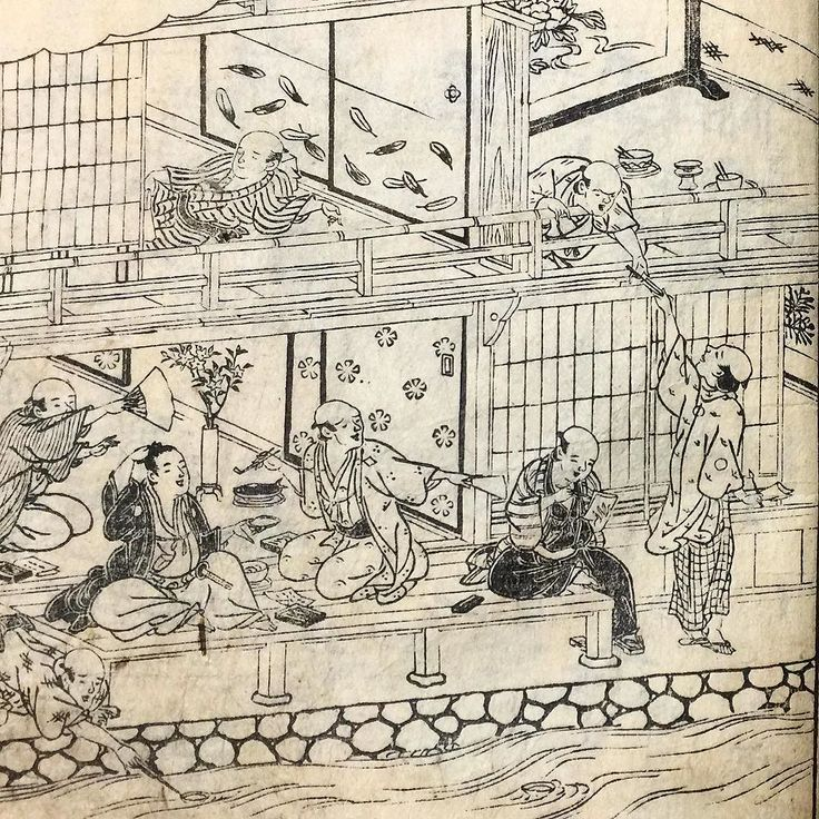 Сценки столичной жизни конца 18 века #Киото #Япония  #гравюры #картины #антиквариат #история #быт #кимоно #досуг #сакэ #саке #стихи #застолье #Kyoto #Japan #enjoykyoto #visitjapan #party #woodblockprint #antiquarian #antiques