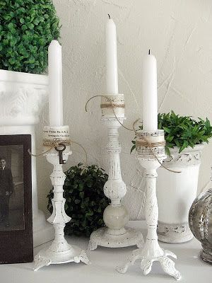 DIY~ Flea Market Finds. Candle Pillars made from Old Lamps - remove electrical components, paint white, distressed raised areas if desired; attach small candle holders from craft store; tie with raffia