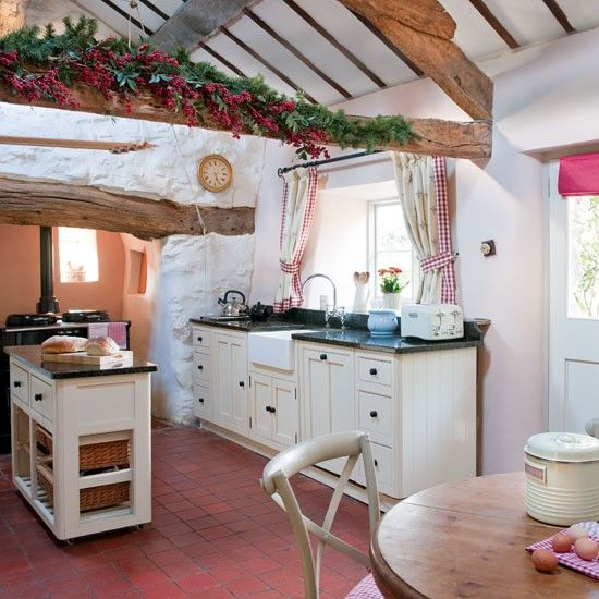 Country kitchen - love the curtains!
