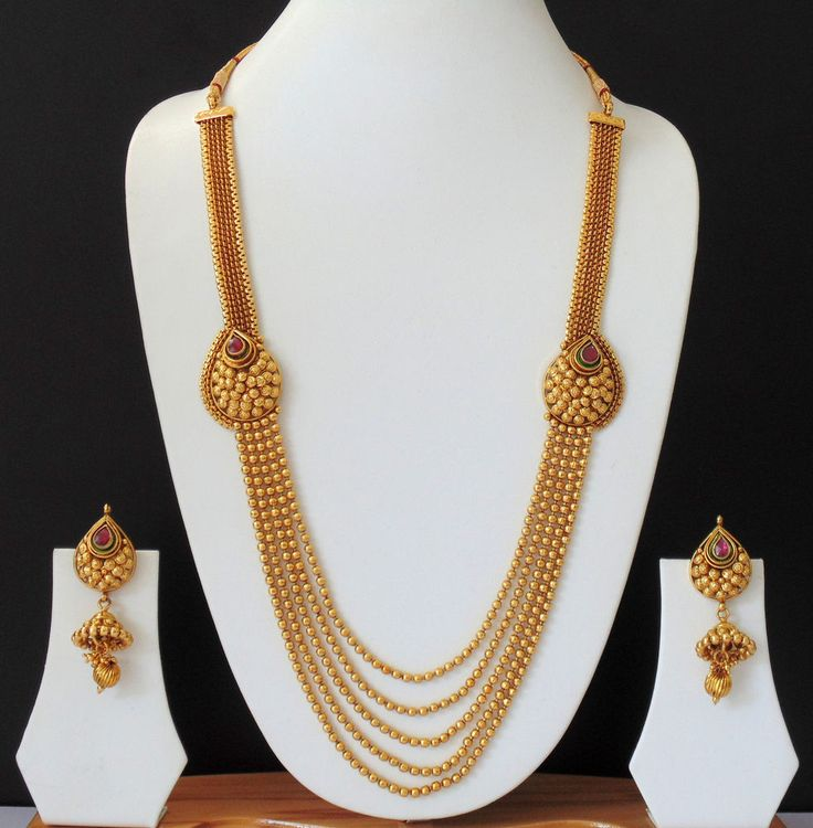 Long Necklace Ethnic Indian Jewelry Earrings Polki 22k Bridal Bollywood Set f360 #Indian