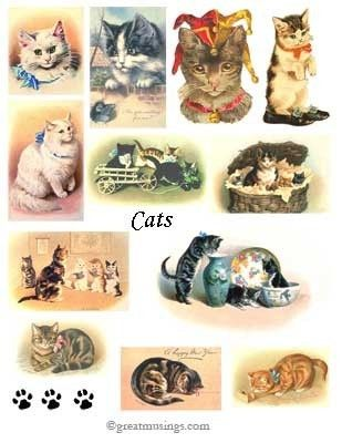 Digital Collage Sheet Download Cats Kittens Images Meow #Etsy