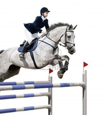 Niña saltando con caballo gris - aislado en blanco Foto de archivo