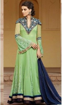 Parrot #Green Color #Net Long Anarkali Style Churidar Kameez | FH501876687 #anarkali , #salwar , #kameez , #dresses , #suits , #designer , #colors , #pinterest , #Shopping , #fashion , #boutique , #online , #heenastyle , #indian , #style , @heenastyle , #churidar