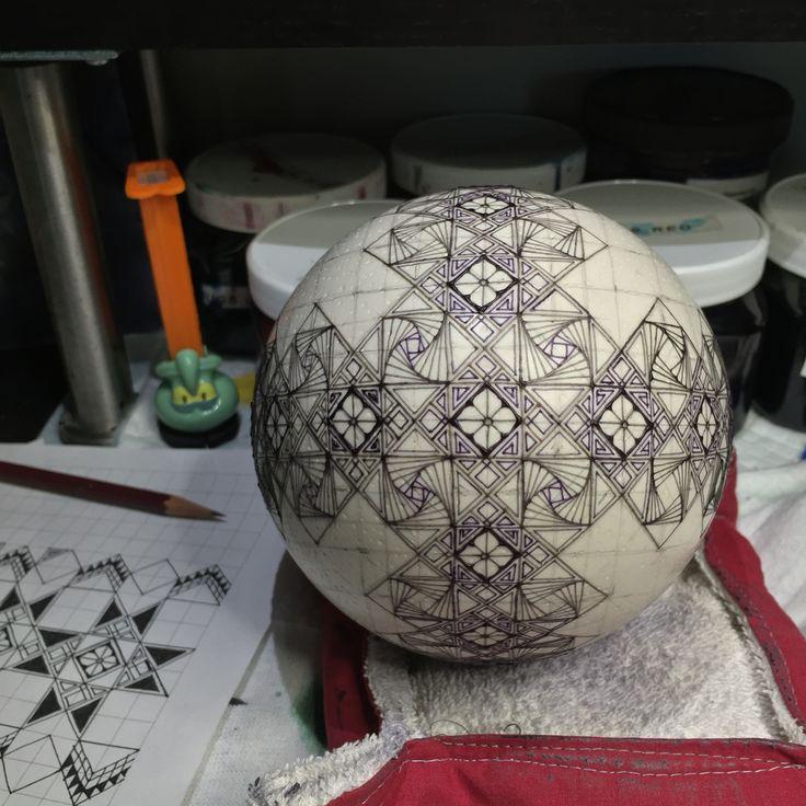 Ostrich egg in progress - modified paradox zentangle