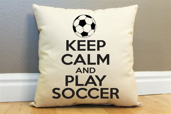 Keep Calm and Play Soccer Pillow by AndersAttic on Etsy, $25.00
