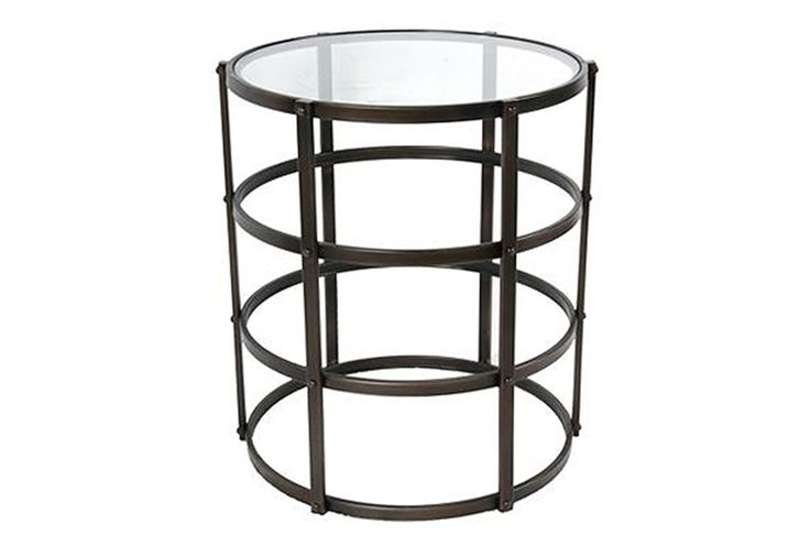 Caged Metal Accent Table Family room next to accent chair