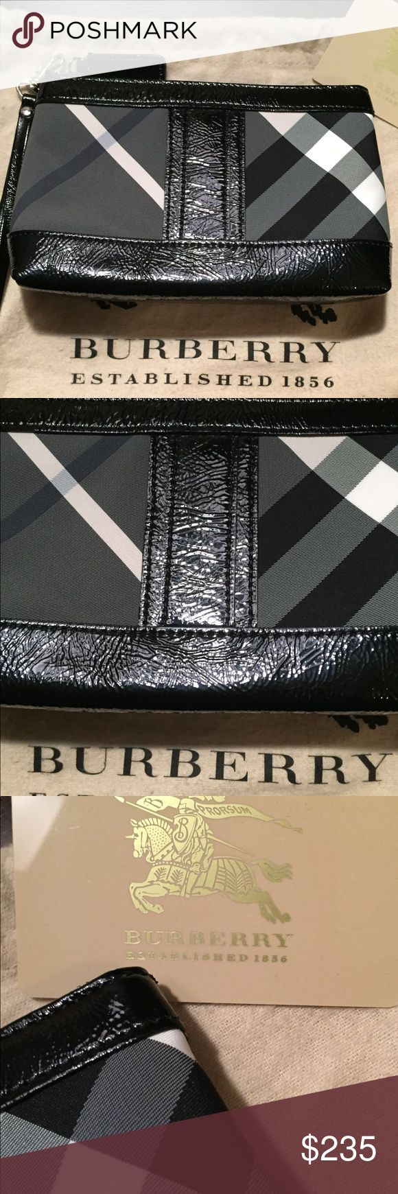 Burberry beat check small cosmetic clutch/wristlet Like new condition used for only one month! No stains or signs of wear. I used a generic wristlet strap that goes perfectly to make it a wristlet which will be included; as well as original dust bag and Burberry card.  It has been stored in its dust bag in my closet. Smoke free home. Burberry Bags Clutches & Wristlets