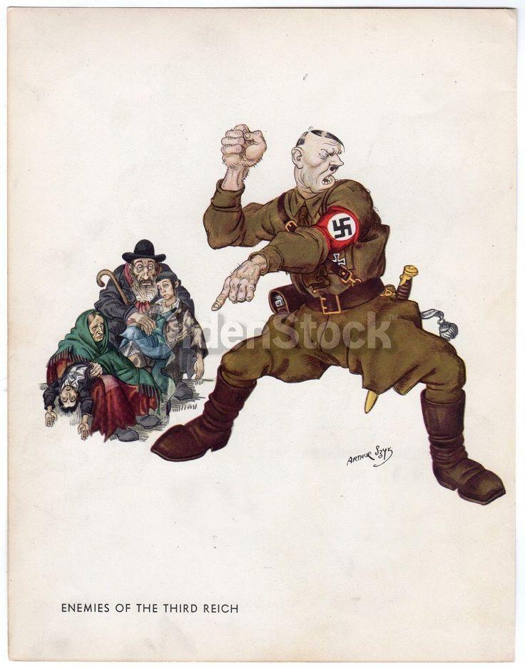 Adolf Hitler Intimidating Defenseless Families Vintage WWII Anti-German Political Cartoon Print