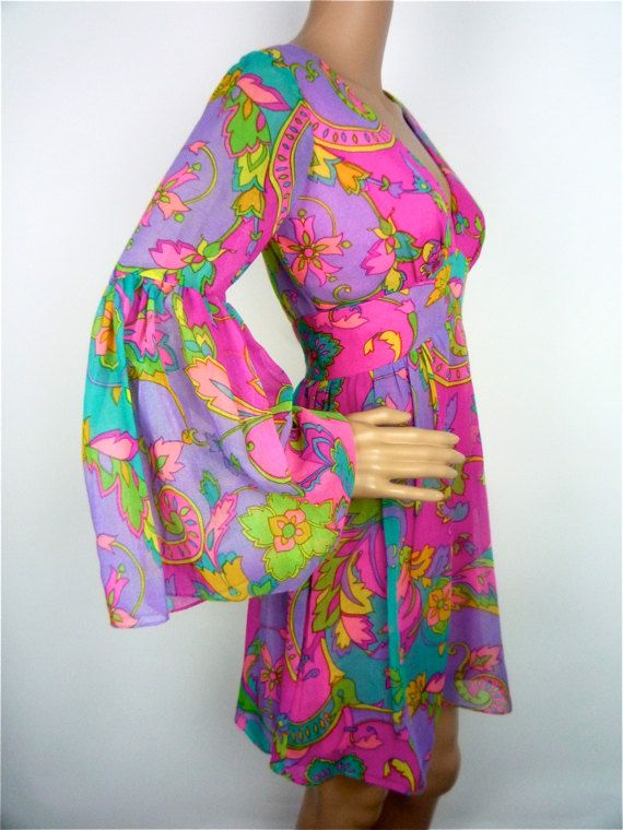 60s Tropical Psychedelic print mini dress with flared sleeves