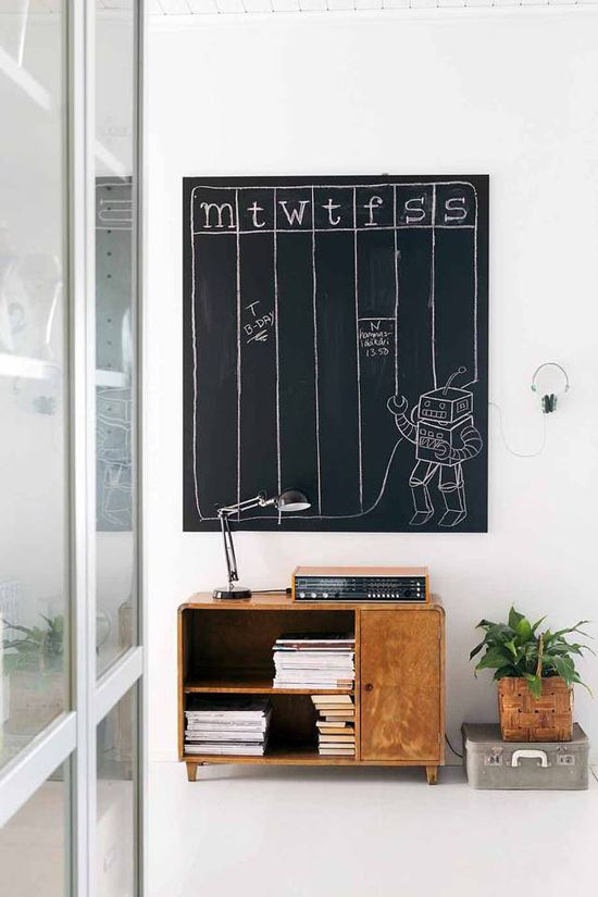 Mid century furniture and handmade chalkboard wall organizer #chalkboard #living