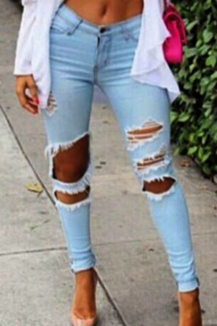 New Sexy Women's Light Blue Zip Up Ripped Torn Look Casual Pants Jeans Size M-XL