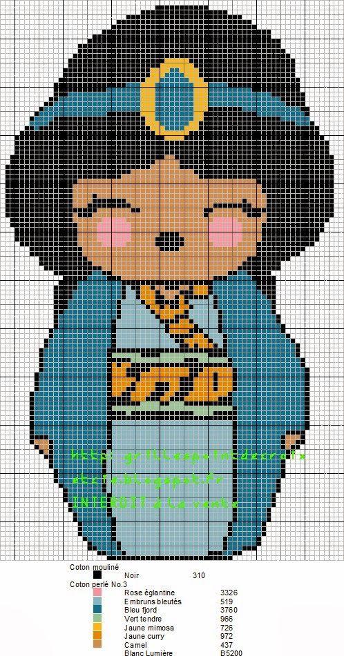 Jasmine Kokeshi pattern by grilles point de croix et cie