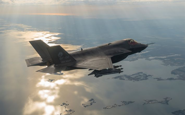 Download wallpapers Lockheed F-35 Lightning II, 4k, fighter-bomber, US Air Force, military aircraft, F-35, USA, aircraft in the sky