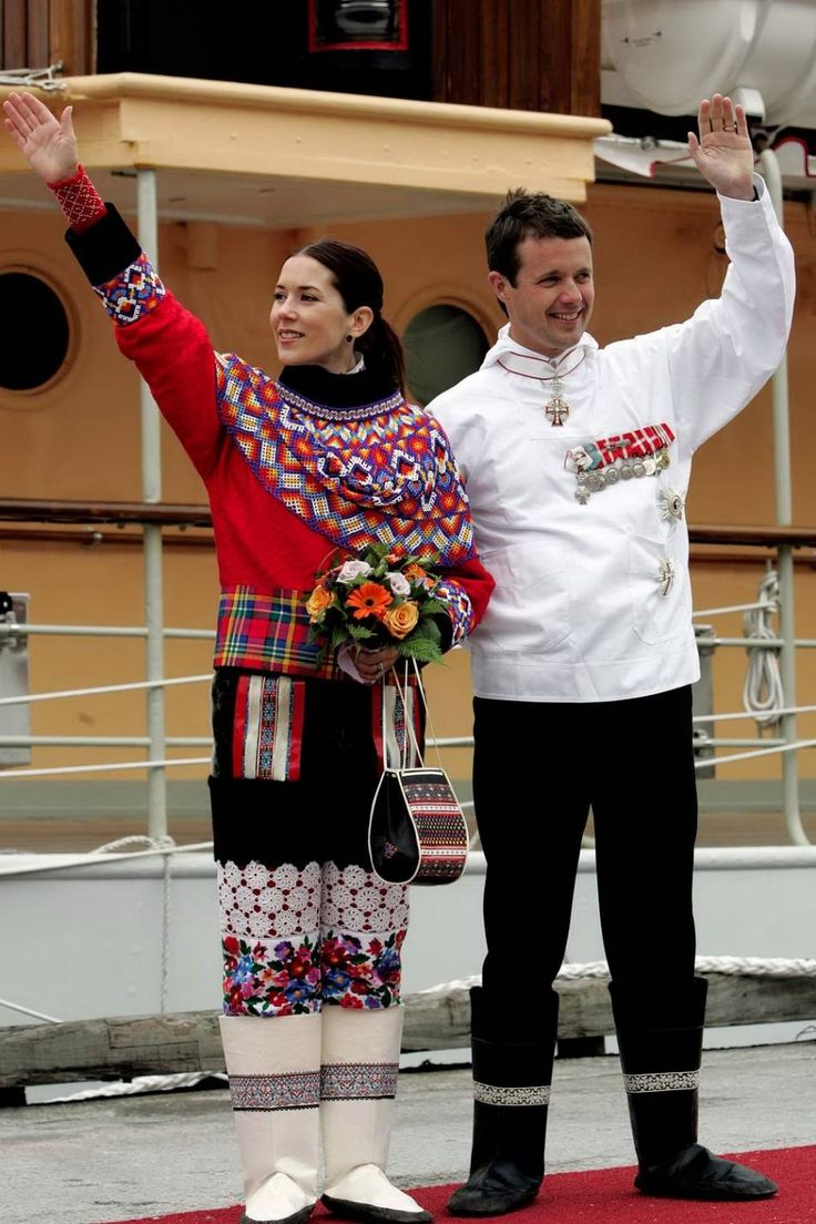 Crown Princess Mary and Crown Prince Frederik of Denmark visit Greenland together with Queen Margrethe and Prince Henrik in August 2004