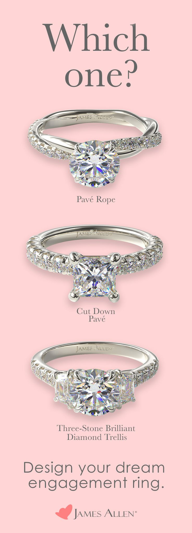 James Allen Has Hundreds Of Stunning Pave Engagement Ring Styles With 100 000 James Allen Engagement Rings Shop Engagement Rings Three Stone Engagement Rings