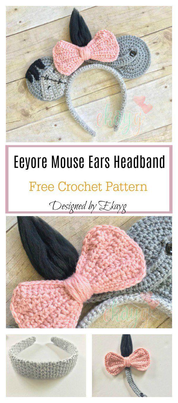 Eeyore Mouse Ears Headband Free Crochet Pattern Crochet Crochet