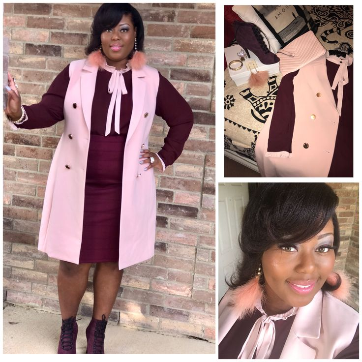 Pink and wine plus fashion Nice ruffle bow top and pencil skirt. Wine booties shoes. Feather earrings church attire , COGIC Sunday morning