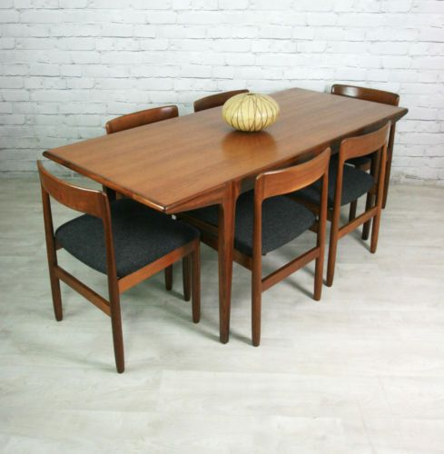 vintage teak mid century dining table 6 chairs 1950s 60s ebay