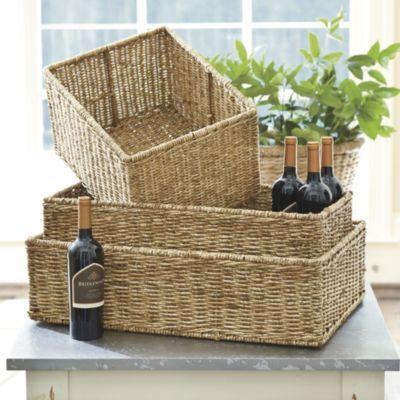 works on shlves of morgan shelving double wide low shelf woven baskets