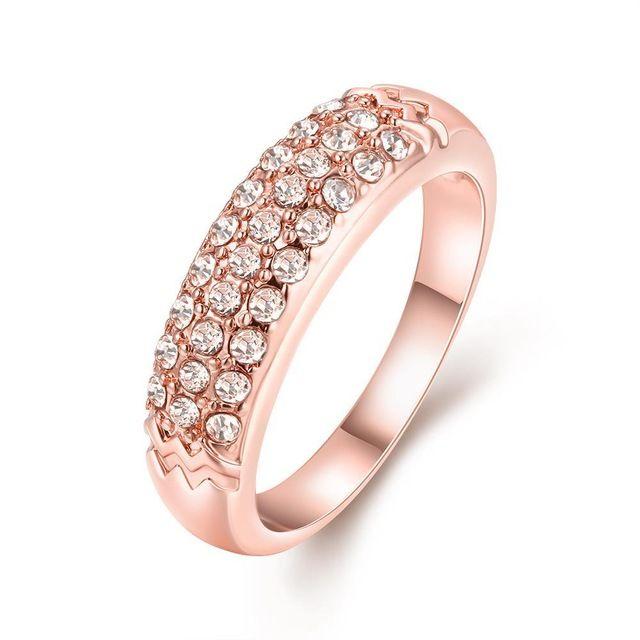 2017 Мода Круглый Дизайн Кольца Кристалл AAA CZ Женщины Кольцо Из Розового Золота Цвета Кольца Для Женщин Платье ювелирные Аксессуары
