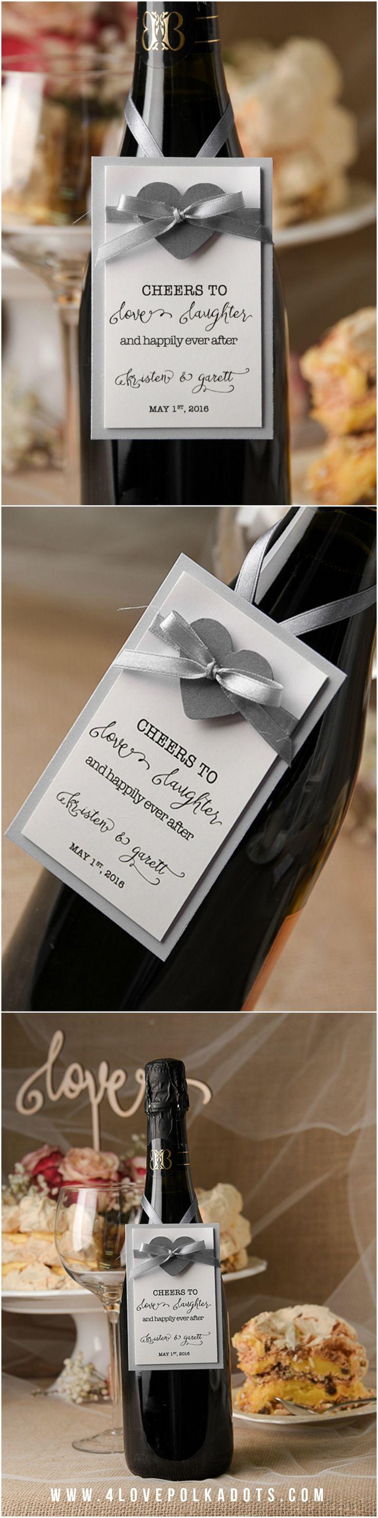 Silver, Grey & White Wedding Wine Labels #simple #elegant #romantic #weddingideas #weddingcards #calligraphy