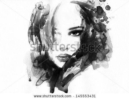 Woman face. Hand painted fashion illustration by Anna Ismagilova, via ShutterStock