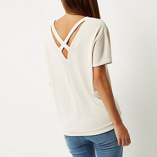 Cream knitted cross back jumper - knitted tops - tops - women