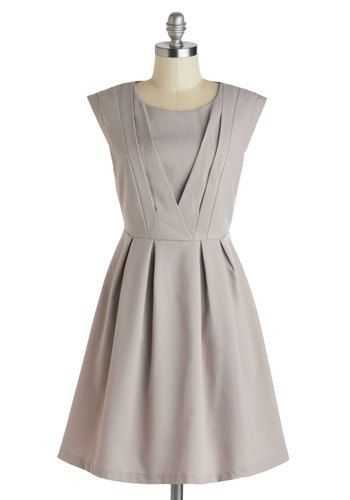 Early to Work Dress - Mid-length, Tan, Solid, Pleats, Work, A-line, Cap Sleeves, Scoop, Exposed zipper, Daytime Party