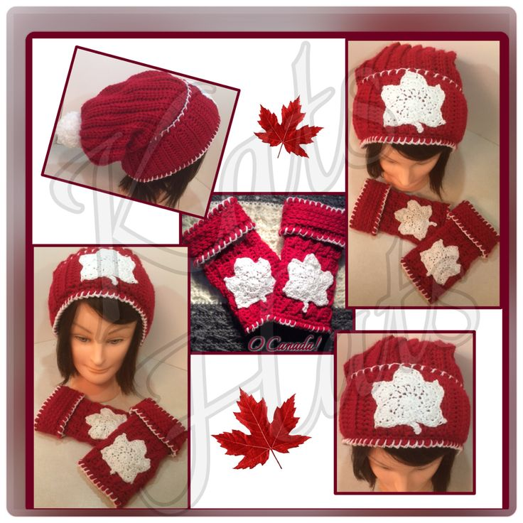 Canada's maple leaf Hat and Fingerless Gloves set. Kats Hats Original. Maple Leaf Design detail. All hand crocheted.. http://facebook.com/Kats.hats.1