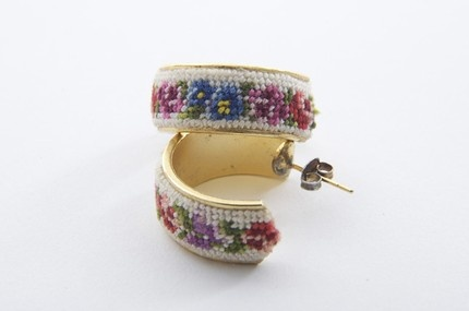 Vintage needlepoint earrings ~ apt22. My aunt brought me a petit point bracelet from Europe when I was a child and these earrings remind me of it.