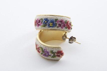 Vintage needlepoint earrings