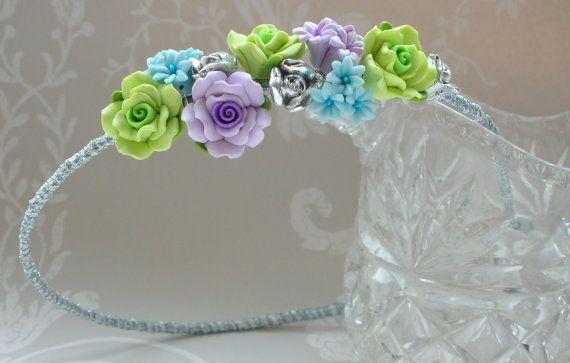 Flower Headband/Bridal Tiara/Bridesmaid Alice Band - made with polymer clay flowers