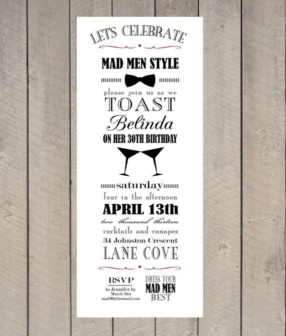 Mad Men Party Invitation Vintage Typography by LetterandthePress, $20.00
