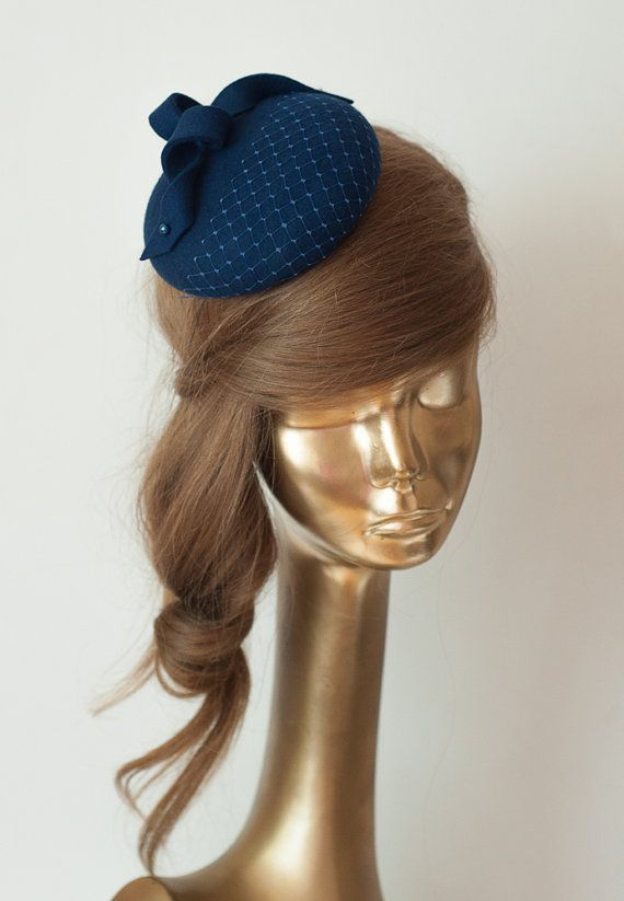 Unique Modern Navy Blue Felt FASCINATOR. by ancoraboutique on Etsy